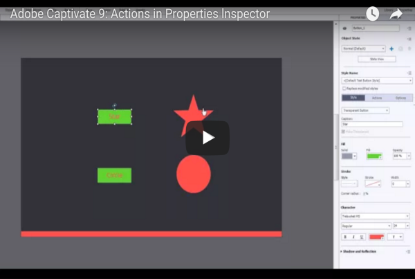 Adobe Captivate 9 - Actions in Properties Inspector