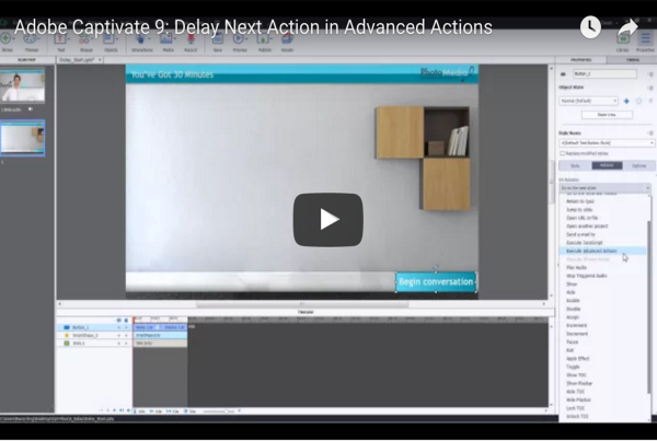 Delay Next Action in Advanced Actions - Adobe Captivate